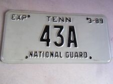 """RARE ORIGINAL LOW NUMBER """"43A"""" 1989 TENNESSEE NATIONAL GUARD LICENSE PLATE"""