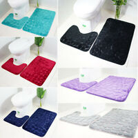 2 Piece Bath And Pedestal Mat Set Bathroom Toilet Mat Rug Soft Anti Slip