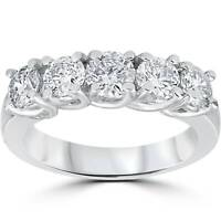 1 1/2ct Real Diamond Wedding Anniversary Band Womens 14k White Gold Ring