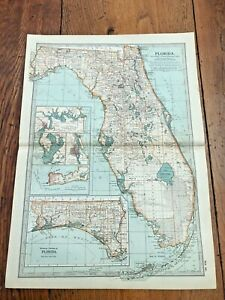 "1903 large colour fold out map titled "" florida """