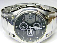 mens Bulova Digital LCD Analog World Time Chronograph Sports watch model # 96C30