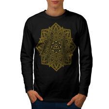 Wellcoda Mandala Arte para hombre de manga larga T-Shirt, Yoga Yantra Diseño Gráfico