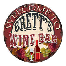 CMWB-0204 Welcome to BRETT'S WINE BAR Chic Tin Sign Man Cave Decor Gift