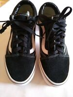 Vans Old Skool Black White Low Top Classic Skate Shoes- Suede Canvas Size 6.5
