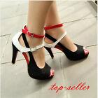 Women ladies High Heels Sandals Summer Open Toe Pumps Fashion Ankle Strap Shoes