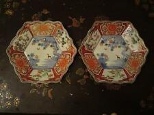 Japanese Meiji Imari Arita porcelain 2 dishes horse moon three friends of winter