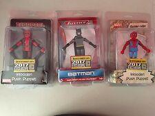 COMIC CON SDCC 2017 LOT SPIDERMAN BATMAN DEADPOOL PUSH PUPPETS