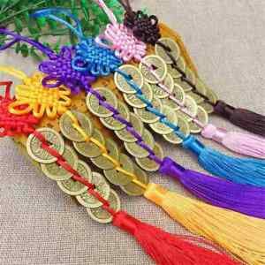 Lucky Chinese Knot Lucky Charm Copper Coins Feng Shui Wealth Success 1x Home Car