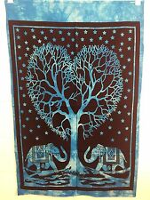 Indio Tapiz Colgante de Pared Mandala Póster Tamaño AMOR Elefantes Azul Tapices