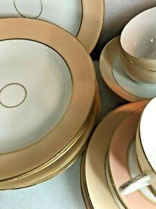 19th Century OLD PARIS Porcelain Peach trim & gold dinnerware set 21 pieces
