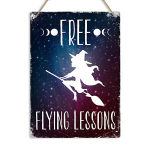 FREE FLYING LESSONS Metal Tin Wall Sign Plaque Home Decor Halloween Witch Funny
