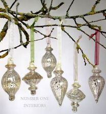 Christmas mercury glass baubles ribboned set of 6 silver antique vintage style