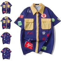 UK Men's Vintage Casual Dress Shirt Bohemian Short Sleeve Beach Shirts Tops Tee