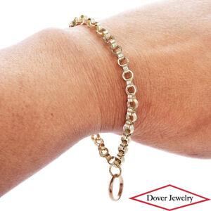 Estate 14K Gold Elegant Rolo Link Circle Charm Chain Bracelet NR
