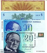 FINLAND SET 4 Notes 1 - 20 Markka Banknote World Paper Money Currency 1963-93