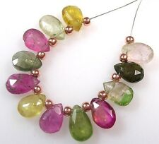 12 NATURAL MULTI TOURMALINE FACETED PEAR BRIOLETTE BEADS 7mm