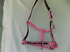HORSE HALTER PINK SIZE FULL DOTS AND STUDS CHEEKS AND NOSE, NEOPRENE LINING