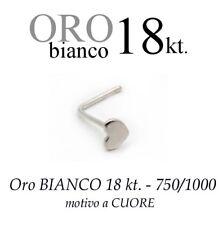 Piercing da naso in ORO BIANCO white GOLD 18kt. con CUORE LISCIO with  heart