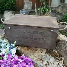 Shabby Rustic Vintage Wooden Storage Chest Box Lid Rope Handles Garden Seeds