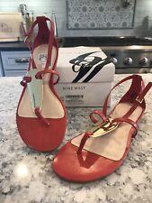 Nine West Women's Weslie Thong Sandal Orange Leather 6 M