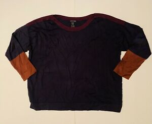 Eileen Fisher Boat Neck Sweater - Size XL - Navy/Plum/Brown