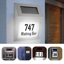 Personalisiert Wasserdicht Rostfreier Solar 2 LED Lampen Hausnummer Straßennam