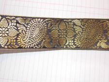 50mm black gold jacquard embroidered ribbon applique motif trimming
