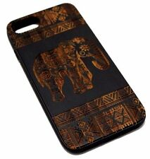 for iPhone 6 7 8 - REAL WOOD TRIBAL ELEPHANT BLACK RUBBER PROTECTOR CASE COVER