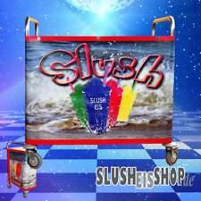 Rollwagen Edelstahl für Slush Eis Maschine, Slushwagen mit Banner 190 x 64 cm