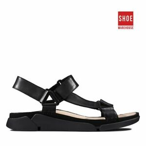 Clarks TRI SPORTY Black Womens Sandal Casual Leather Shoes