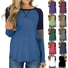 Women Long Sleeve Crew Neck Splice T Shirt Casual Blouse Loose Tunic Ladies Tops