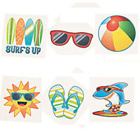 BEACH PARTY Tattoos Temporary Tattoo Kids Sun Fun Favours Pack of 36 Free Post