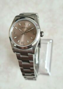 Rolex Oyster Perpetual Stainless Steel Salmon Pink Dial Date Watch 31mm