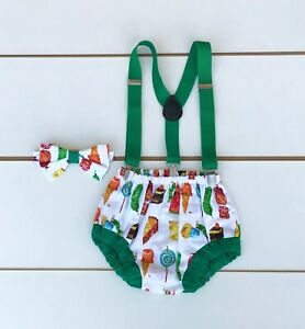 3 Piece The Very Hungry Caterpillar Cake Smash Outfit - First Birthday Baby Boy