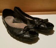 Whatswhat flats shoes size 9.5 M cut out design open toe black leather