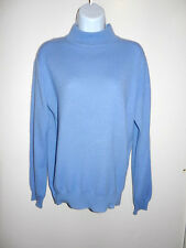 MEN'S CHARTER CLUB 100% CASHMERE LIGHT BLUE LONG SLEEVES MOCK NECK SWEATER S
