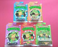HOT WHEELS - TURTLES NINJA - TORTUES - SET COMPLET - LOT DE 5 - LONGUE CARTE