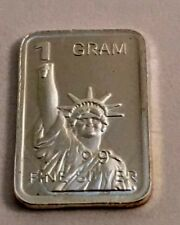 "Best Junk Lot 1 Gram 999 Solid Silver Bullion Art-Bar, New "" Statue Of Liberty """