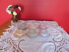 Vintage Retro Arcopal France Pastel Glass Opalescent Cups and Saucers  x 6