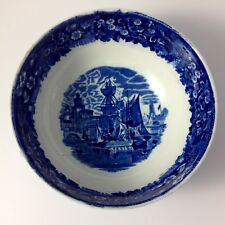 Antique Wedgwood Etruria Blue & White Serving Bowl Ferrara Harbor Sailing Ships