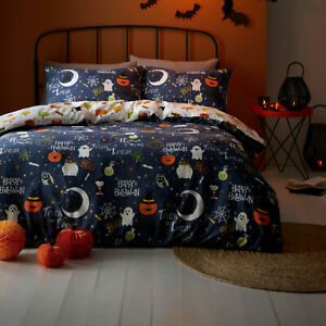 Happy Halloween Single Duvet Cover Reversible Bedding Set Pumpkin Ghost
