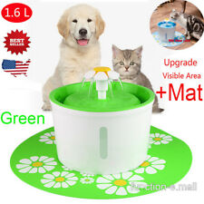Automatic 1.6L Cat Dog Kitty Water Drinking Round Fountain Bowl Dish Filter+Mat
