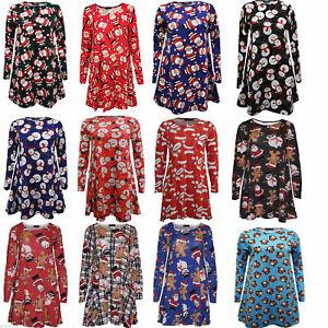 Christmas Dress Women Ladies Santa Printed Xmas Fancy Party Swing Skater Dresses