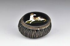 Pietra Dura Sterling Silver Patch or Pill Box with Dog Mosaic Inlay Work