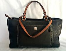 COACH Chelsea Black Leather Tote Tan Handles Pocket Bag Purse 10892 EUC So Cute