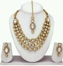 South Indian Traditional Ethnic Gold plated Necklace Earring  Tika Jewelery set