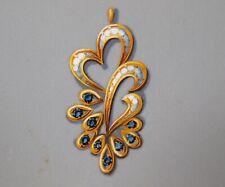 Original fine vintage painting. Jewellery design. Gold Diamond & Onyx necklace