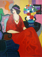 HandPainted Itzchak Tarkay Oil Painting Reproduction wall Art Canvas red Lady