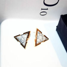 18K Gold Plated Triangle Marble Stone Huggie Earrings WHITE