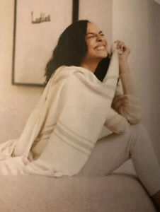 NEW Causebox Imani Collective Woven Throw Blanket Cream/Taupe  $120 Retail Value